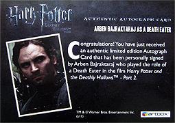 ハリー・ポッターと死の秘宝 part 2 デスイーター直筆サインカード2