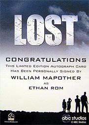 LOST Season 1 Thru 5 直筆サイン イーサン(ウィリアム・メイポーザー)2