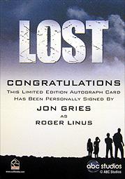 LOST Season 1 Thru 5 直筆サイン ロジャー・ライナス(ジョン・グライス)2