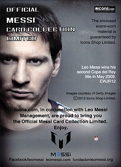 ICONS Messi official card limited Event-worn Jersey 裏