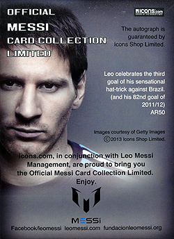 ICONS Messi official card limited #AR50 裏