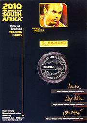 Panini 2010 FIFA World Cup カード #イニエスタ 直筆サインカード 裏面