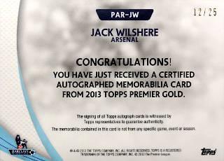 topps premier gold Jack Wilshere
