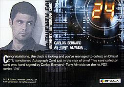 Artbox Twenty Four Season 4 #カルロス・バーナード(トニー・アルメイダ) 直筆サインカード2